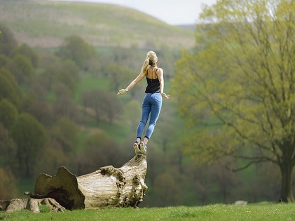 woman standing on the edge