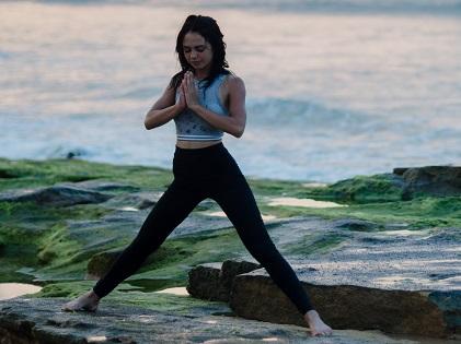 woman yoga meditating scenery