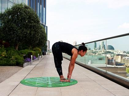 woman yoga meditating standing