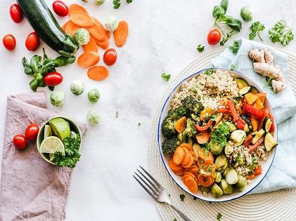 vegetable salad on plate flatlay