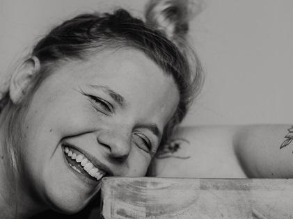woman smiling laughing